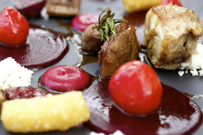 Assiette of Burrawong gaian duck, dauphine potatoes & beetroot