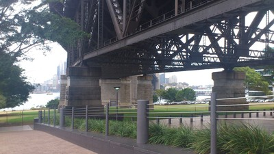 Directly under the harbour bridge