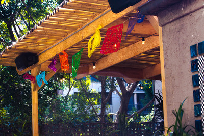Fiesta flags in the courtyard