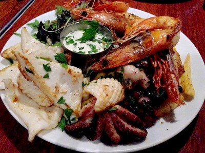 bbq seafood plate