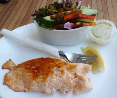 berowra waters fish cafe, berowra waters, salmon steak